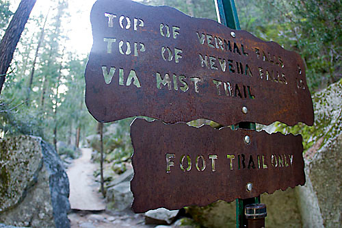 Trail sign for the John Muir Trail in Yosemite National Park, CA
