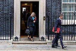 © Licensed to London News Pictures. 06/11/2018. London, UK. Secretary of State for Northern Ireland Karen Bradley (L) and Defence Secretary Gavin Williamson (R) leave 10 Downing Street after the Cabinet meeting. Photo credit: Rob Pinney/LNP
