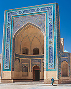 In the Po-i-Kalyan complex in central Bukhara. This dramatic entrance to the Kalyan Mosque, built to hold over 12,000 people is next to the massive Kalyan Minaret and Mir-i Arab Madrasah