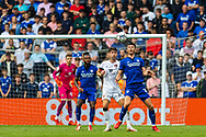 Cardiff City forward Kieffer Moore  (10) chests down a ball with Bournemouth defender Gary Cahill (24) behind him during the EFL Sky Bet Championship match between Cardiff City and Bournemouth at the Cardiff City Stadium, Cardiff, Wales on 18 September 2021.