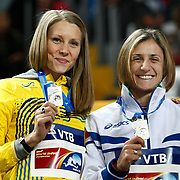 Ebba Jungmark (L) from Sweden silver medal winner Antonietta Di Martino (R) from Italy during the IAAF World Indoor Championships at the Atakoy Athletics Arena, Istanbul, Turkey. Photo by TURKPIX