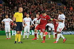 6th December 2017 - UEFA Champions League - Group E - Liverpool v Spartak Moscow - Fernando of Spartak pulls at Philippe Coutinho of Liverpool before allowing him to take his penalty - Photo: Simon Stacpoole / Offside.