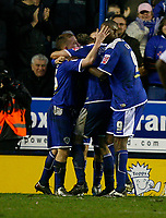 Photo: Steve Bond/Sportsbeat Images.<br /> Leicester City v West Bromwich Albion. Coca Cola Championship. 08/12/2007. Iain Hume celebrates his controversial equaliser