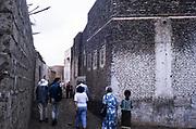 Tourists explore ancient town of Zebid, Zabid,  Yemen 1998 UNESCO World Heritage Site