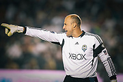 Seattle Sounders FC goalkeeper Kasey Keller yells to his team during the second half of an MLS soccer match against the Los Angeles Galaxy, Monday, July 4, 2011, in Carson, Calif. The game ended in a 0-0 tie. (AP Photo/Bret Hartman)