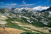 Mt. Challenger, Tapto Lakes, Hiker on Ridge, North Cascades National Park, WA