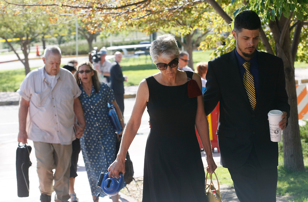 Family of victims arrive for the second court appearance of James Holmes, the accused in the July 20, 2012 theater shootings at the hearing in Centennial, Colorado July 30, 2012. REUTERS/Rick Wilking (UNITED STATES)