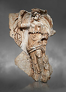 Roman Sebasteion relief sculpture of the goddess Herma (day), Aphrodisias Museum, Aphrodisias, Turkey.  Against a grey background.<br /> <br /> Goddess  Herma or Day steadies a dramatically billowing cloak that frames her head. The motif , also visible on the Okeanos relief, indicates flying, floating and divine epiphany - the appearance of gods to mortals. Day would be paired with night : together they signify the eternity of the Roman imperial order. .<br /> <br /> If you prefer to buy from our ALAMY STOCK LIBRARY page at https://www.alamy.com/portfolio/paul-williams-funkystock/greco-roman-sculptures.html . Type -    Aphrodisias     - into LOWER SEARCH WITHIN GALLERY box - Refine search by adding a subject, place, background colour, museum etc.<br /> <br /> Visit our ROMAN WORLD PHOTO COLLECTIONS for more photos to download or buy as wall art prints https://funkystock.photoshelter.com/gallery-collection/The-Romans-Art-Artefacts-Antiquities-Historic-Sites-Pictures-Images/C0000r2uLJJo9_s0
