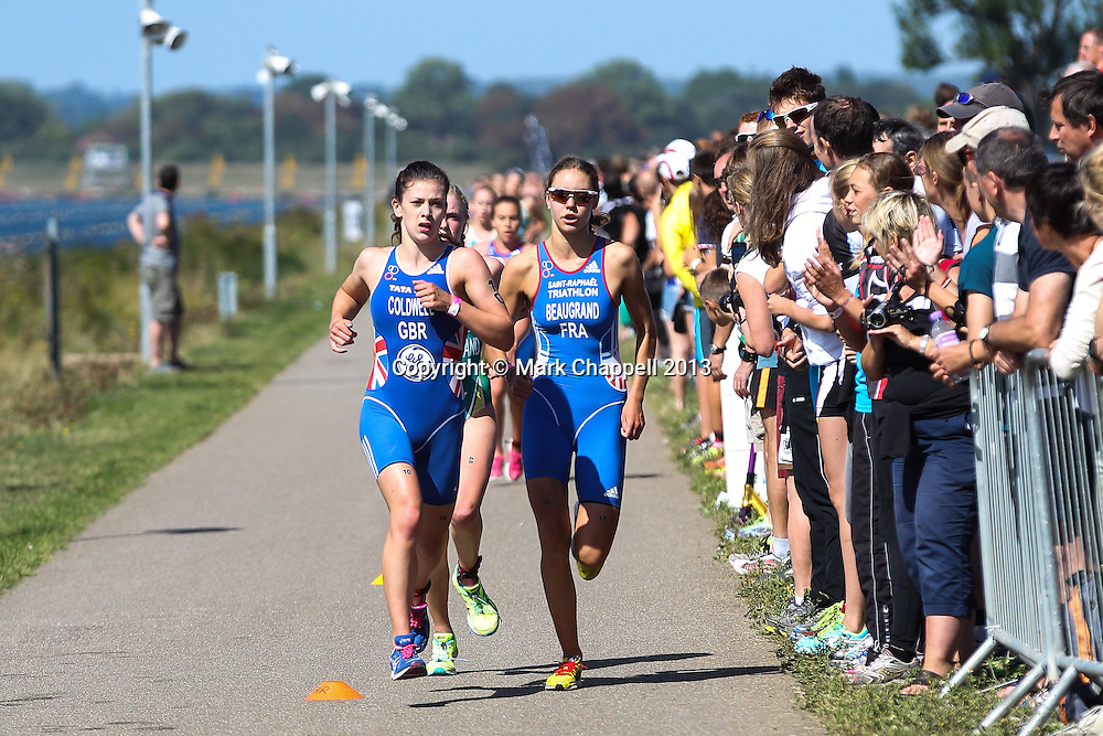 The 2013 European Triathlon Union, Triathlon Junior European Cup (part of the Youth and Junior British Triathlon Super Series) held at the Eton Dorney Boating Lake, site of the 2012 London Olympic Games.. Saturday 31  August  2013.  Windsor, UK.<br /> <br /> Photo Credit: Mark Chappell<br /> <br /> © Mark Chappell 2013. <br /> All rights reserved, see instructions.