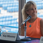 August 16, 2014, New Haven, CT:<br /> Panelist Kay Mooney speaks during the Aetna Symposium on day four of the 2014 Connecticut Open at the Yale University Tennis Center in New Haven, Connecticut Monday, August 18, 2014.<br /> (Photo by Billie Weiss/Connecticut Open)