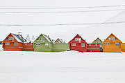 Colorful townhouses in Longyearbyen, Svalbard.