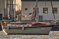 """Canadian 43' Ketch SV Maitre """"D"""" at anchor off the Coast Guard Station in Cape May. Image taken with a Fuji X-T1 camera and 100-400 mm lens (ISO 200, 347 mm, f/5.6, 1/400 sec)"""