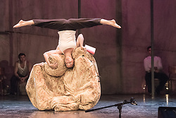 © Licensed to London News Pictures. 08/06/2015. London, UK. Hailing from Québec, renowned as the home of the modern circus discipline, The 7 Fingers (Les 7 Doigts de la Main) is one of the world's most inventive contemporary circus companies. After success with its previous show Sequence 8, the company returns to the Peacock Theatre with the critically acclaimed TRACES from Tuesday 9 June – Sunday 12 July 2015. Picture features: Anne-MArie Godin. Photo credit : Tony Nandi/LNP