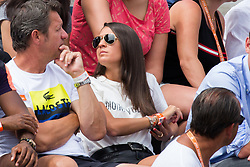 Stephanie watching her boyfriend David Goffin lies injured following a fall in his third round match with Horacio Zeballos during French Tennis Open at Roland-Garros arena on June 02, 2017 in Paris, France. Photo by Nasser Berzane/ABACAPRESS.COM