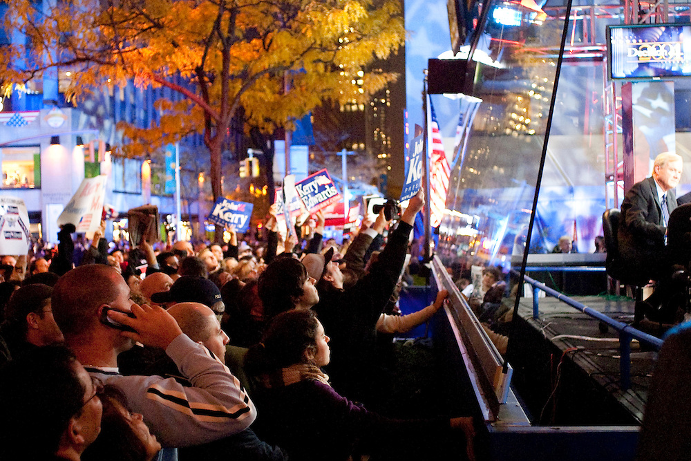 New York, New York. United States. November 2nd 2004..Presidential Election night at Rockefeller Center.
