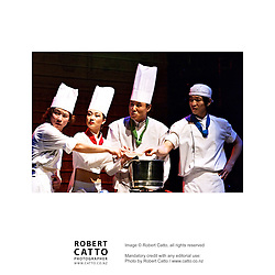 Korean chefs perform in Cookin' at the Events Centre, Wellington as part of the New Zealand International Arts Festival 2004.