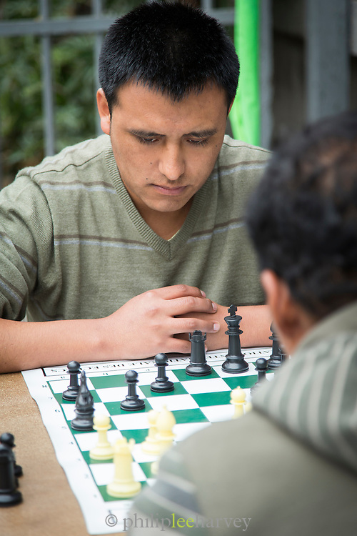 Chess Players playing on the street in Lima Peru, South America