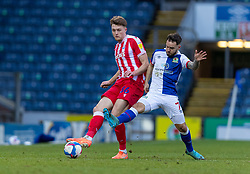 BLACKBURN, ENGLAND - Saturday, January 16, 2021: Stoke City's Harry Souttar (L) and Blackburn Rovers' Adam Armstrong during the Football League Championship match between Blackburn Rovers FC and Stoke City FC at Ewood Park. The game ended in a 1-1 draw. (Pic by David Rawcliffe/Propaganda)