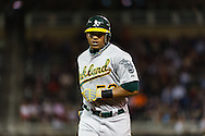 Oakland Athletics Yoenis Cespedes during a game against the Minnesota Twins on July 13, 2012 at Target Field in Minneapolis, Minnesota.  The Athletics defeated the Twins 6 to 3.  © 2012 Ben Krause