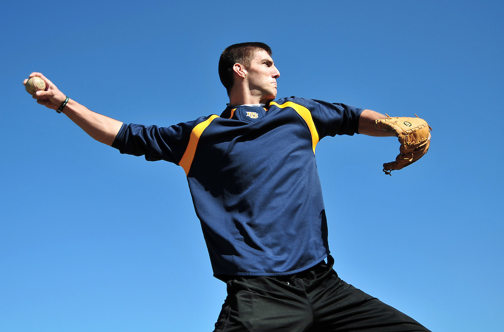 Jeff Parker, a sophomore on the club baseball team at Marquette University, poses in a park near Marquette's Campus, in Milwaukee, Wisconsin on October 3, 2008.