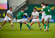 England centre  Johnny Williams flicks the ball on to his centre partner Joe Marchant during the World Rugby U20 Championship Final   match England U20 -V- Ireland U20 at The AJ Bell Stadium, Salford, Greater Manchester, England onSaturday, June 25, 2016. (Steve Flynn/Image of Sport)