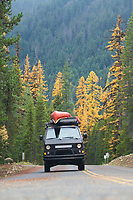 VW Syncro van driving near Mt Rainier, WA.