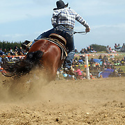 Jenny Atkinson from Middlemarch in action during the Open Barrel Race at the Southland Rodeo, Invercargill,  New Zealand. 29th January 2012