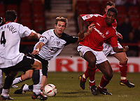Photo. Daniel Hambury.<br /> Carling Cup.<br /> Forest vFulham. 10/11/2004.<br /> Fulham's Brian McBride scores Fulahm's third goal