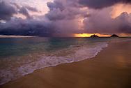 Sunrise at Lanikai Beach, Mokulua Islands offshore, Oahu, Hawaii