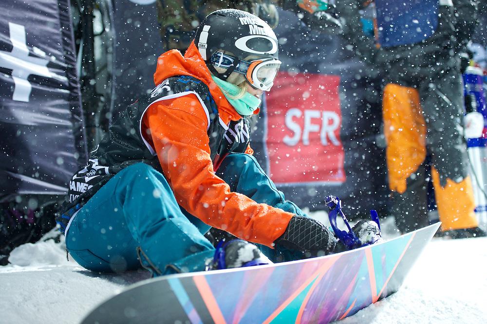 Gretchen Bleiler during Women's Snowboard SuperPipe Finals at the 2013 X Games Tignes in Tignes, France. ©Brett Wilhelm/ESPN