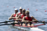 20040814 Olympic Games Athens Greece [Rowing]<br /> Photo  Peter Spurrier <br /> CAN M4- ,  Bow Cameron Baerg, Thomas Herschmille, Jake Wetzel and Barney Williamsr moves off the start on the opening day of the Olympic regatta.<br /> <br /> email;  images@intersport-images.com<br /> Tel +44 7973 819 551<br /> T<br /> <br /> <br /> [Mandatory Credit Peter Spurrier/ Intersport Images]