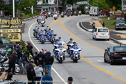 Police escort for the Freedom Ride to Hesky Park in Meredith for the POW/MIA vigil during Laconia Motorcycle Week. NH, USA. Thursday, June 14, 2018. Photography ©2018 Michael Lichter.