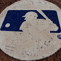 Feb 24, 2013; Dunedin, FL, USA; A detail of a MLB logo on the batters circle during a spring training game between the Toronto Blue Jays and the Baltimore Orioles at Florida Auto Exchange Park. Mandatory Credit: Derick E. Hingle-USA TODAY Sports