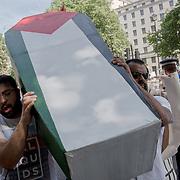 Pro-Palestinian Protest Netanyahu visiting downing street to meet Theresa May. No Israeli War Criminals Here - Free Palestine! June 6 2018, London, UK.