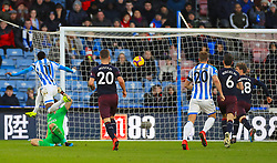 Arsenal's Sead Kolasinac (not pictured) scores an on goal during the Premier League match at the John Smith's Stadium, Huddersfield.