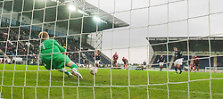 Falkirk's Mark Millar has his penalty saved by keeper Lee Robinson..Falkirk 1 v 0 Queen of the South, 15/10/2011..Pic © Michael Schofield.