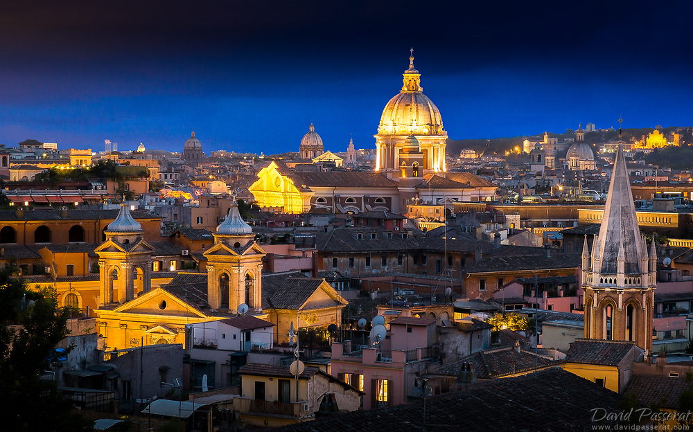 On the left, Chiesa di Sant'Atanasio, on the middle-top,  the Chiesa di S. Carlo al Corso, and on the right All Saints' Anglican Church.
