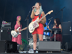 © Licensed to London News Pictures . 08/06/2014 . Heaton Park , Manchester , UK . WARPAINT on the Main Stage . The Parklife music festival in Heaton Park Manchester as the sun comes out . Photo credit : Joel Goodman/LNP