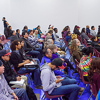 A crowd of students and faculty attend as guest lecture by Roxanne Duncar-Ortiz at Diné College Tuesday in Tsaile.