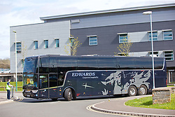 YSTRAD MYNACH, WALES - Wednesday, April 5, 2017: The Wales team arrive on an Edwards coach ahead of the Women's International Friendly match against Northern Ireland at Ystrad Mynach. (Pic by Laura Malkin/Propaganda)