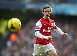 14.12.2013, Etihad Stadium, Manchester, ENG, Premier League, Manchester City vs FC Arsenal, 16. Runde, im Bild Arsenal's Nacho Monreal, action against Manchester City // during the English Premier League 16th round match between Manchester City and Arsenal FC at the Etihad Stadium in Manchester, Great Britain on 2013/12/14. EXPA Pictures © 2013, PhotoCredit: EXPA/ Propagandaphoto/ David Rawcliffe<br /> <br /> *****ATTENTION - OUT of ENG, GBR*****