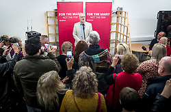 Labour leader Jeremy Corbyn addresses party activists at The Hub in Grimsby ahead of the local elections.