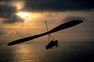 Hang glider over the Pacific Ocean at sunset, Fort Funston, Golden Gate National Rec. Area, San Francisco, California