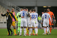 ATHENS, GREECE - OCTOBER 29: Players of both teams after the UEFA Europa League Group G stage match between AEK Athens and Leicester City at Athens Olympic Stadium on October 29, 2020 in Athens, Greece. (Photo by MB Media)