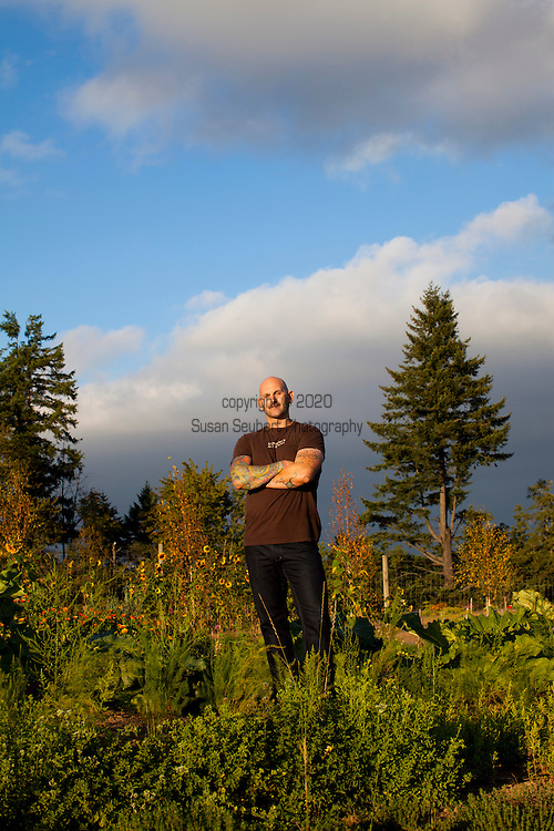 Meriwether's Restaurant is  one of the few restaurants operating their own 5 acre vegetable farm on Skyline Blvd. in NW Portland.  Throughout the 2009 harvest, the restaurant has served over 8000 pounds of Skyline Farm produce.  Chef Earl Hook in the garden on a late September, sunny evening.