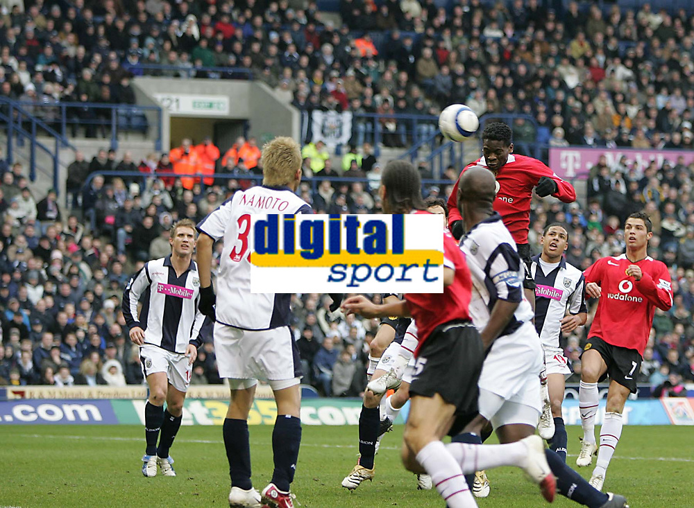 Photo: Lee Earle.<br /> West Bromwich Albion v Manchester United. The Barclays Premiership. 18/03/2006. United's Luis Saha rises to head home the opening goal.