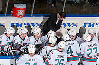 KELOWNA, CANADA - MARCH 26: Brad Ralph, head coach of the Kelowna Rockets goes over a play on the bench against the Kamloops Blazers on March 26, 2016 at Prospera Place in Kelowna, British Columbia, Canada.  (Photo by Marissa Baecker/Shoot the Breeze)  *** Local Caption *** Brad Ralph;