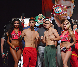 September 15, 2017 - Las Vegas, Nevada, United States of America - NABF Super bantamweight champion Randy Caballero and challenger Diego De La Hoya attend the weigh in ceremony for their super bantamweight bout on September14, 2017 at the MGM Grand  Garden Arena in Las Vegas, Nevada (Credit Image: © Marcel Thomas via ZUMA Wire)