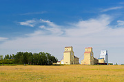 Old grain elevators on the Canadian Prairie<br /> Mossleigh<br /> Alberta<br /> Canada