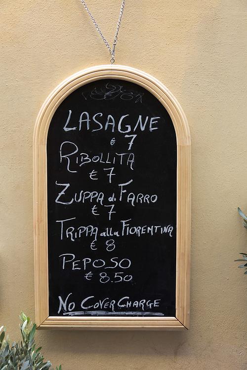 Chalkboard menu in Florence, Italy.